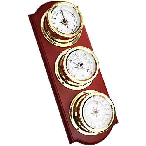 Trintec Euro Weather Station EWS-01 Brass Quartz Clock Thermometer Barometer Marine Nautical Dials on Cherry Stained Wood Plaque