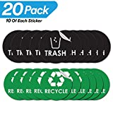 Recycle Trash Bin Logo Sticker - 4'' x 4'' - 20 PACK - Organize & Coordinate Garbage Waste from Recycling - Great for Metal Aluminum Steel or Plastic Trash Cans - Indoor & Outdoor - Home Kitchen Office