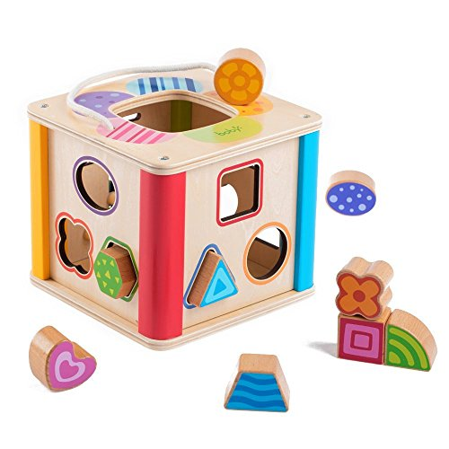 Yikky Wooden Activity Center Shape Sorter Cube Toys with Carrying Stripe for Babies 18 Months and Up