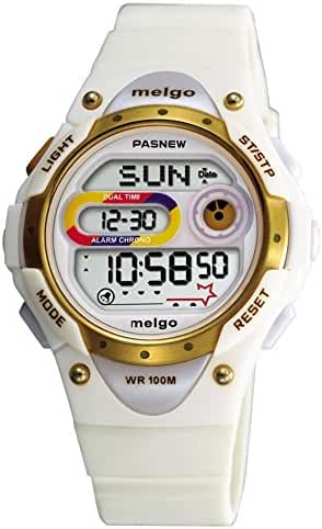 Pasnew LED Waterproof 100m Sports Digital Watch for Children Girls Boys (White)