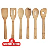 Comllen Wooden Spoon Kitchen Tools Bamboo Utensils (Set of 6)