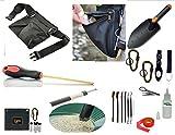 VAS Treasure Hunters and Metal Detectors Tool Belt 2 | Utility Tool Belt | Coin Probe | Hand Trowel | Cleaning Kit Brushes/Picks / Mag Tweezers | Treasure Bag | 5lb Pen Separator