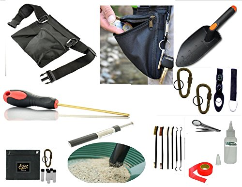 VAS Treasure Hunters and Metal Detectors Tool Belt 2 | Utility Tool Belt | Coin Probe | Hand Trowel | Cleaning Kit Brushes/Picks / Mag Tweezers | Treasure Bag | 5lb Pen Separator