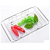 Dish Rack Over Sink, Adjustable Arms Holder Utensil Drainer Functional Drying Organizer for Vegetable and Fruit, Kitchen organizer Strainer Dish Drainer (rustproof Stainless Steel,Warm Gray)