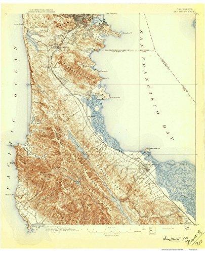 San Mateo 1896 Old Topo Map - an edited reprint of the original quad - USGS Topographic California 15x15 ()