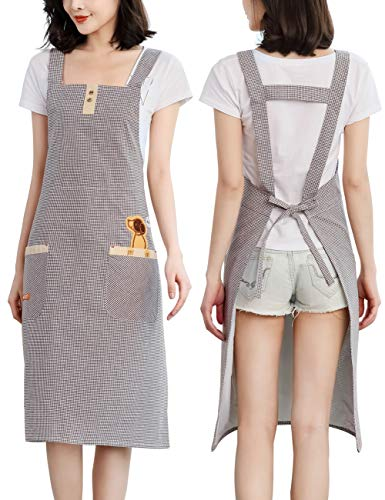 Cute Adults Smock Apron for Work - Cotton Fabric 2 Pockets Adjustable Waist Ties Fits for Cooking Baking Painting Gardening (Coffee Plaid)