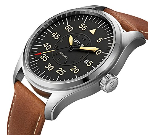 Luxury Men Automatic Mechanical Black Dial Luminous Waterproof Sapphire Genuine Brown Leather Watch (Brown Silver Black) by Fanmis