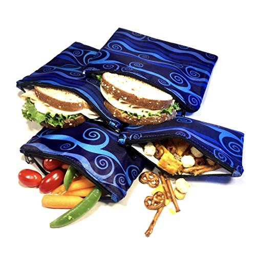- Sandwich & Snack bags   Set of 4   Resealable, Reusable and Eco Friendly Dishwasher Safe Lunch Bags   Easy Open Zipper