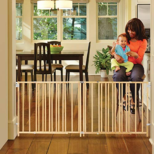 "North States 103"" Wide Extra-Wide Swing Baby Gate: Perfect for Oversized Spaces. No Threshold and one-Hand Operation. Hardware Mount. Fits 60""-103"" Wide (27"" Tall, Sustainable Hardwood)"