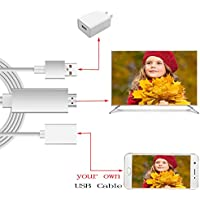 Simply Silver - HD TV Adapter - 1080P HDMI AV HD TV Adapter Adaptor Video Cable Cord for Samsung Galaxy J7 phone