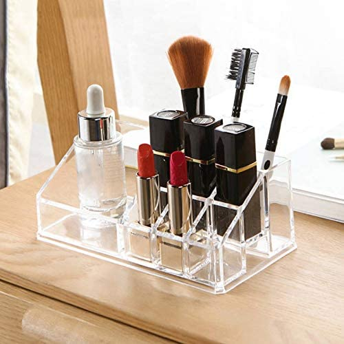 Organizador de maquillaje, bandeja para brochas y cosméticos, caja de almacenamiento para tocador, cajones, compartimentos, acrílico transparente: Amazon.es: Joyería