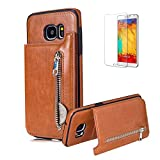 Funyye Premium Zipper Wallet Case for Samsung Galaxy S7 Edge,Elegant Brown Multifunction PU Leather Flip Case with Stand Credit Card Holder Slots Soft Silicone Durable Case for Samsung Galaxy S7 Edge + 1 x Free Screen Protector