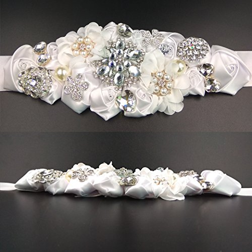 Lujuny Crystal Flower Bridal Maternity Sash Belt – Floral Ribbon Tie for Wedding Pregnant Baby Shower Party Photoshoot (WHITE) by Lujuny (Image #4)