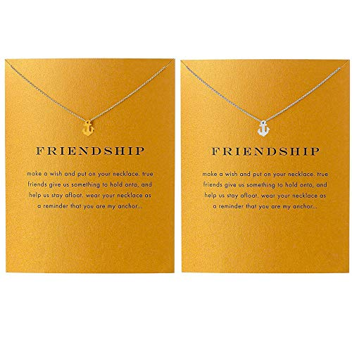 QXFQJT Sun Compass Necklace Best Friend Anchor Horseshoe Deathly Hallow Pendant Chain Necklace with Meaning Cards (2pc-Anchor)