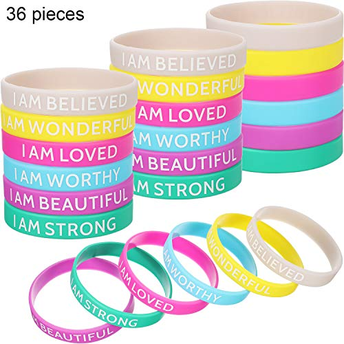 36 Pieces Silicone Inspirational Bands Motivational Bracelets Rubber Inspirational Wristbands with Inspirational Messages for Studying Competing Working -