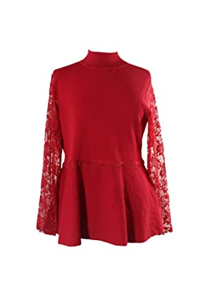 953348f5b56 Image Unavailable. Image not available for. Color  Inc International  Concepts Plus Size Red Lace-Sleeve Peplum ...