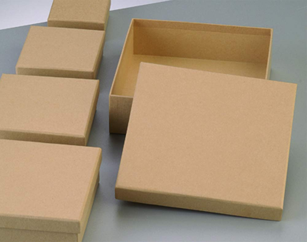 Single Paper Mache Square Flat Box with Lid to Decorate - 16.5cm Crafty Capers