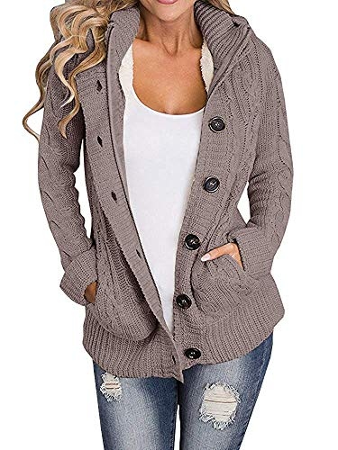 Yacooh Lined Hooded Womens Cardigan Sweaters Warm Jacket Fleece Cable Knit Open Front Hooded Button Down Sweater Coat (Large, Coffee)
