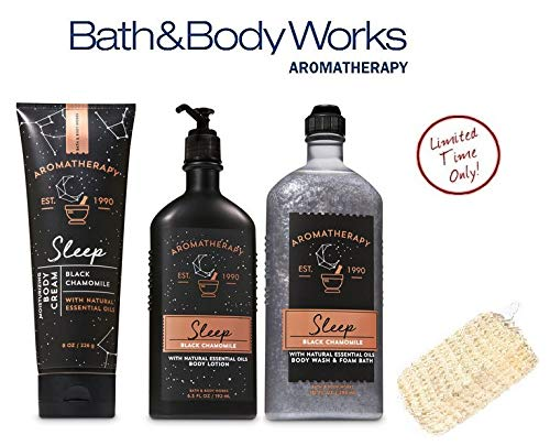 Bath and Body Works Aromatherapy Sleep Black Chamomile Deluxe Spa Set - Body Wash & Foam Bath - Body Lotion & Body Cream Plus FREE SISAL - Body Wash Deluxe
