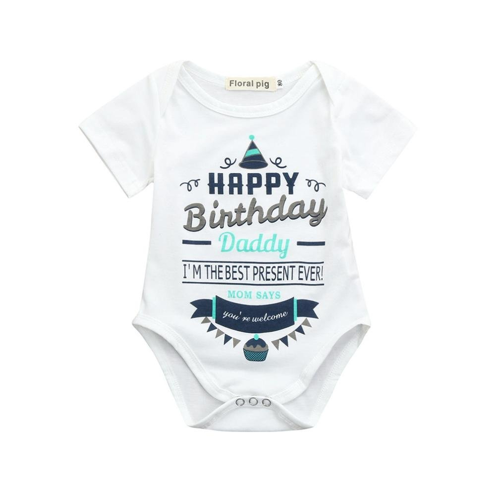 Webla Newborn Infant Baby Boys Girls Letter Happy Birthday Daddy Print Home Pajamas Romper for 0-18 Months