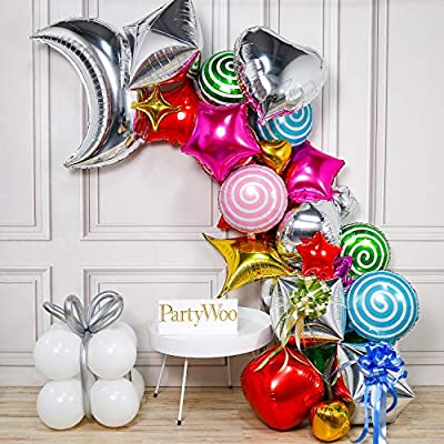PartyWoo Candy Balloons Garland Kit, Christmas Balloons, Moon Balloon, Star Balloon, Heart Balloon, 4D Balloon, Square Balloon, Pull Bows for Christmas Party Decorations, Candyland Party Decorations: Toys & Games