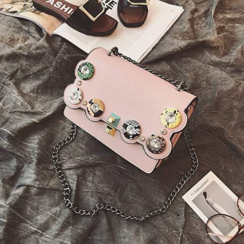 per borsa donna Borsa piccola a tracolla Colore Dimensione Rosa quadrata Marrone xqnnRX6wT