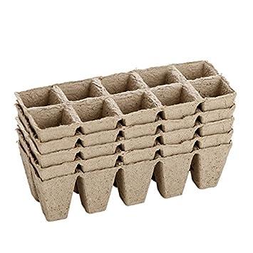 Pequeñas bandejas cuadradas biodegradables de fibra para semillas, paquete de 5 - 50 celdas.