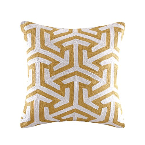 Crewel Embroidered Geo Square Pillow Yellow 20X20