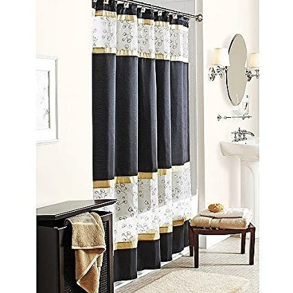 Spice Garden Fabric Shower Curtain Black Gold W Sheer White Embroidered  Amazon Com