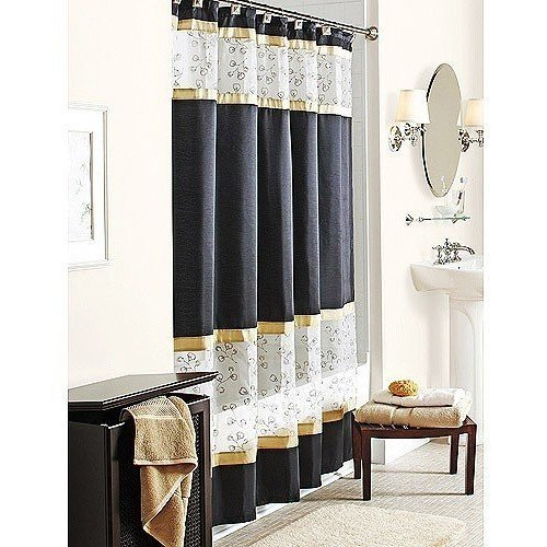 Amazon Spice Garden Fabric Shower Curtain Black Gold W Sheer White Embroidered Home Kitchen