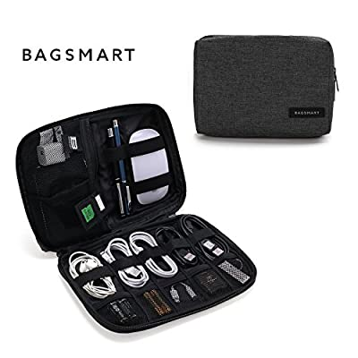 BAGSMART Small Travel Electronics Cable Organizer Bag for Hard Drives, Cables, Charger