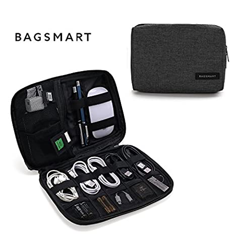 BAGSMART Small Travel Electronics Cable Organizer Bag for Hard Drives, Cables, Charger, Black - Wire Pick