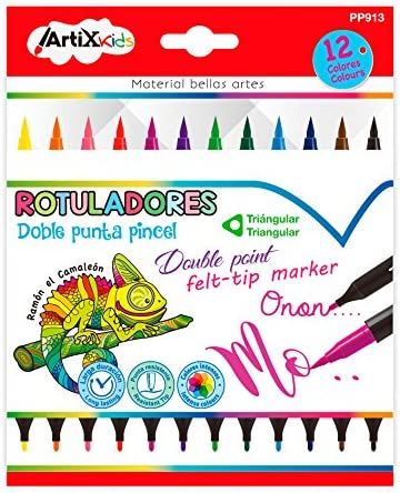 MP - Rotuladores Artix Kids, Pack 12 Rotuladores de Doble Punta ...