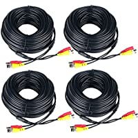 Audio Video Power Supply Cables 150ft 4 pack Monitoring Pre-made All-in-One Security Camera Extension Wires Cord with BNC to RCA Connector for CCTV DVR Home Surveillance System Black – Prosshop