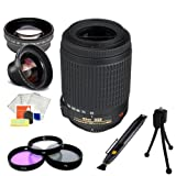 Nikon AF-S DX VR Zoom-Nikkor 55-200mm f/4-5.6G IF-ED Lens Kit- International Version (No Warranty). Includes:0.45X Wide Angle Lens + MORE