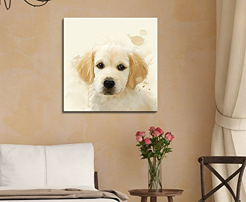 Square Dog Series Watercolor Style Golden Retriever