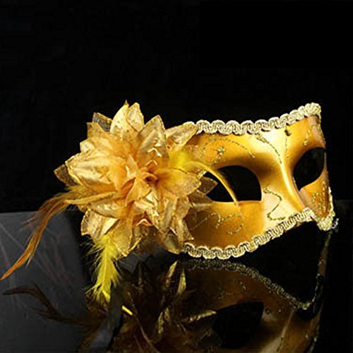 Price comparison product image Nanier Mistery Luxury Mysterious Pretty Lady Glitter Mask,  Women's Gorgeous Venetian Masquerade Mask (Gossy-golden) by Decath