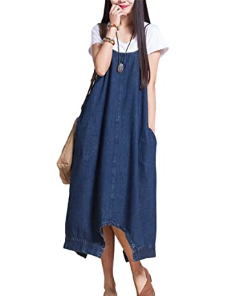 c6d6b33f9cd ShiFan Ladies Denim Pinafore Dress Casual Baggy Dungarees Overalls Long  Vest Dress  Amazon.co.uk  Clothing