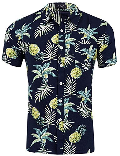 (XI PENG Men's Tropical Short Sleeve Floral Print Beach Aloha Hawaiian Shirt (Pineapple Palm Black Yellow, Medium))