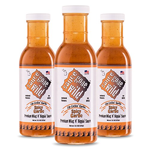 Chicken Garlic Sauce - Sauce Gone Wild Wing Sauce - Spicy Garlic Flavor -13.1oz - 3 Bottles - Hot Marinade for Grilling & Cooking Chicken - Made in USA - Tasty Restaurant Style Wings at Home