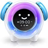 BestXiuyi Children Sleep Training Alarm 7 Changing Colors Teach Kids Time to Wake Up, Rechargeable Night Light Clock with 2400mAh Battery Charging USB (Blue)