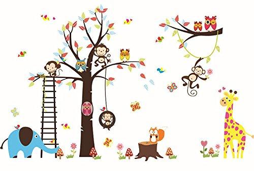 Lisdripe Manual Wall Sticker - Removable Vinyl Wall Art - Tree Monkey Owls Jungle Animals Theme Wall Decals, Nursery Bedroom Decors (Jungle Theme Wall Decor)