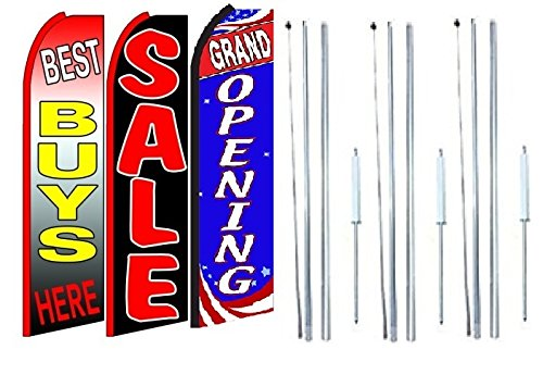Best+buys+here,+sale, Grand opening King Swooper Feather Flag Sign Kit With Complete Hybrid Pole set- Pack of 3 by OnPoint Wares