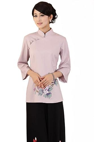 XueXian(TM) Mujer de Tang De Manga Longitud de Elegante Oriental Rosa