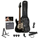 Sawtooth ST-ES-SPIDER-KIT3-BKC ES Electric Guitar Rockin' Beginner's Pack with Chrome Pickguard