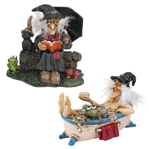 Design Toscano Bewitching Witches Halloween Decor Figurine Statues, Set of Two, Book of Spells and Cauldron of Beauty, Polyresin, Full Color