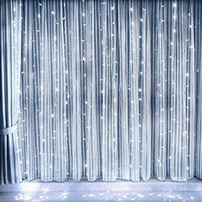Curtain Lights, AGPTEK 9.8ft x 9.8ft Solar/Power driver (2-way) String Lights for Christmas/Halloween/Wedding/Party Backdrops - FULL Waterproof & UL Safety Standard - White : Garden & Outdoor