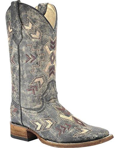 Circle G Womens Distressed Arrowhead Cowgirl Boot Square Toe Black 7 W US d84yzYv0J