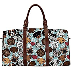 """Dog Lover Exquisite Travel Bag,Canine Breeds Bulldog Chihuahua Siberians and Retriever Love Heart Paw Prints Decorative for College,18.62""""L x 8.5""""W x 9.65""""H"""
