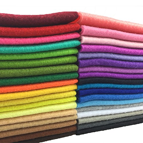 flic-flac 36pcs 1.4mm Thick Soft Felt Fabric Sheet Assorted Color Felt Pack DIY Craft Sewing Squares Nonwoven Patchwork (20cm 20cm)